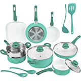 Ivation Ceramic Cookware | 16-Piece Nonstick Cookware Set with Induction Base, SoftGrip Handles & Clear Glass Lids | Compatib