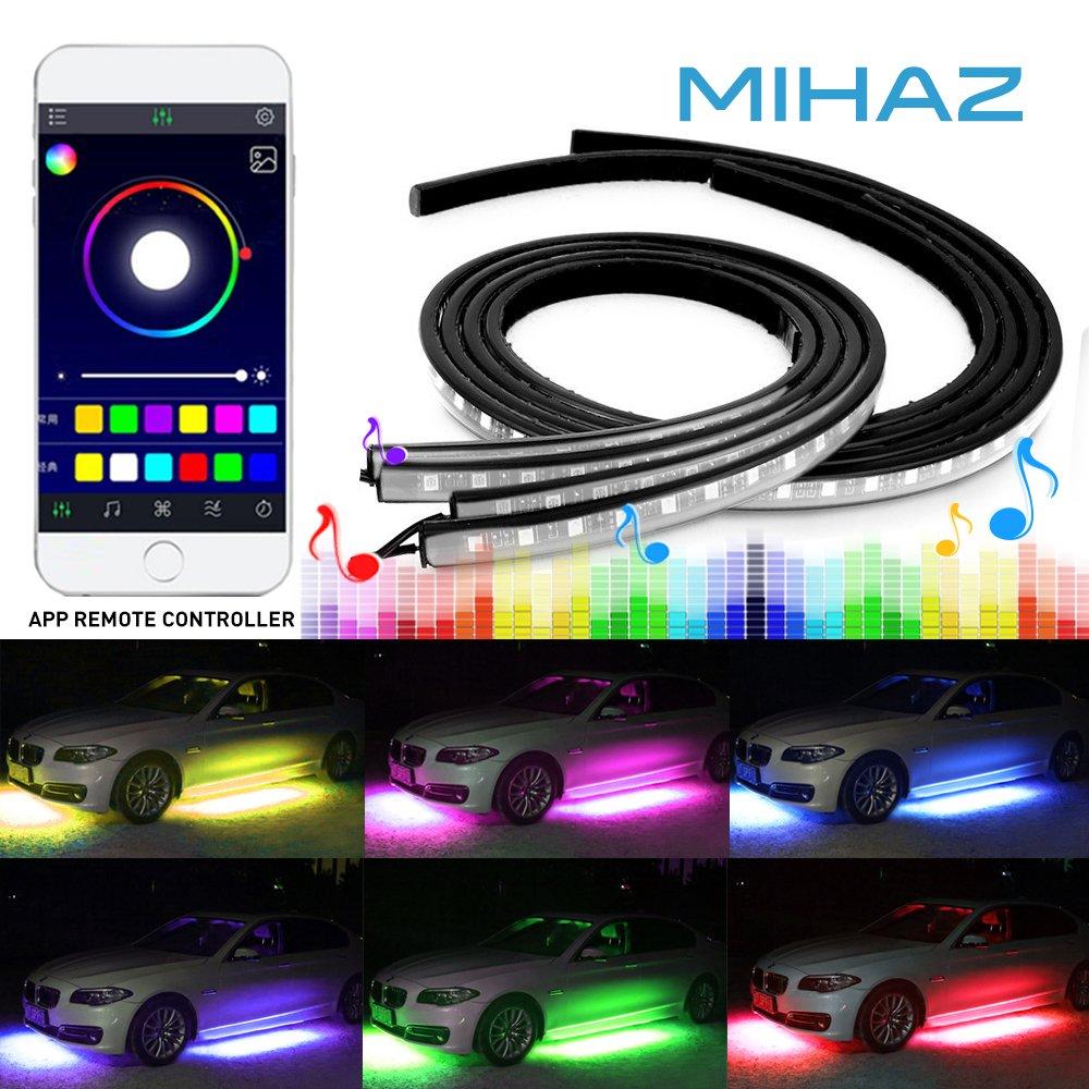 Underbody light,4 pcs Mihaz Led Strip Lights Underglow Light, Led Glow Under Car Lighting Strips Sound Active Function Running RGB Colors Strip App Control Atmosphere Lights