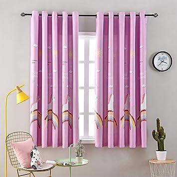 Amazon Com Hughapy Unicorn Curtains For Kids Girls Bedroom Rainbow Horse Blackout Curtain Insulated Thremal Grommet Window Drape 1 Panel Pink 52w X 63l Furniture Decor