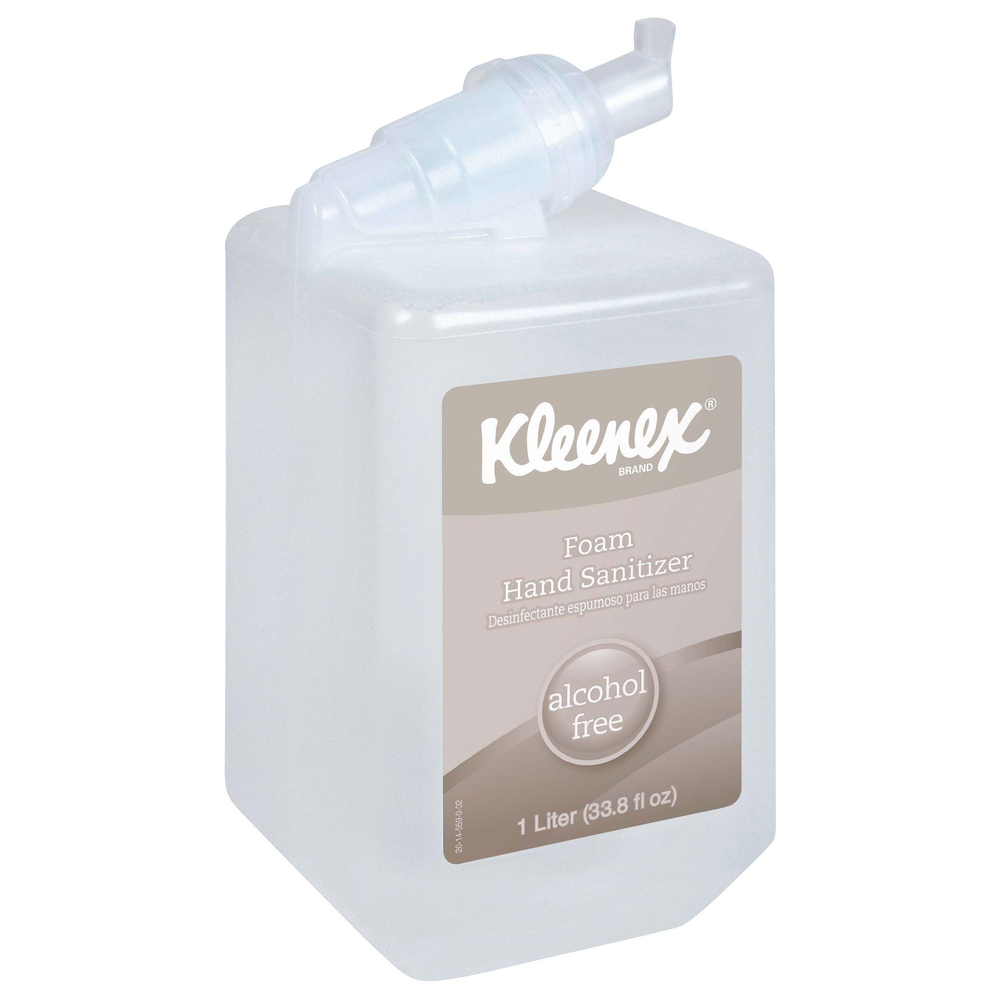 Kleenex Alcohol Free Foam Hand Sanitizer (12977), Clear, Unscented, 1.0 L Cassette for Manual Dispenser, 6 / Case