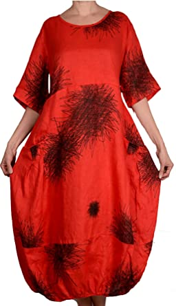 1a7f900960e56 Damen Pure Leinen Sommer Ballon Kleid Tunika 44 46 48 50 52 M L XL XXL Rot