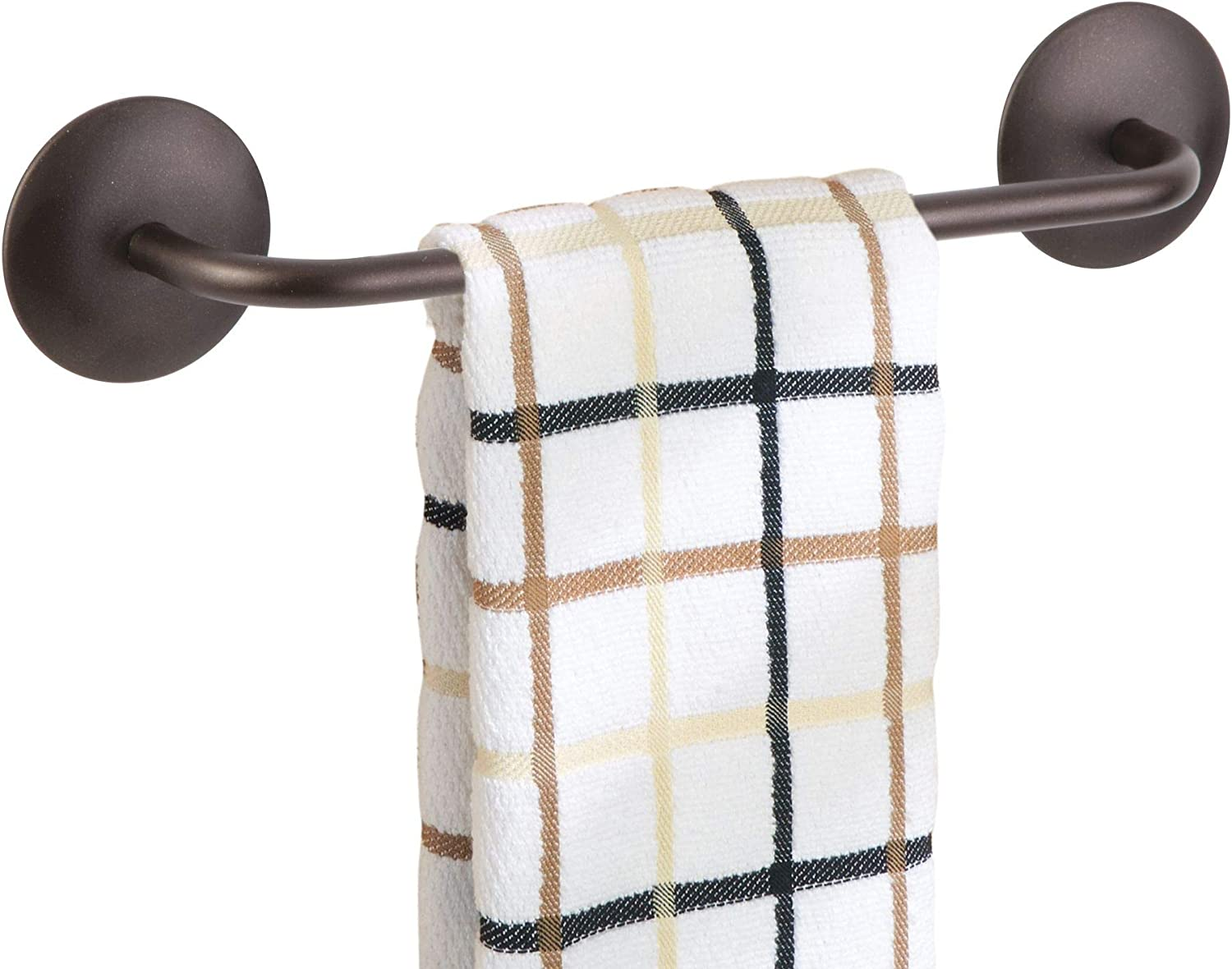 """iDesign InterDesign AFFIXX, Peel-and-Stick Adhesive Towel Bar Holder for Kitchen or Bathroom - 8.5"""", Bronze, Inches"""