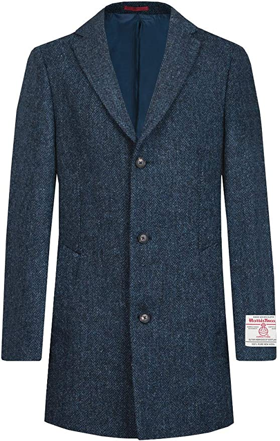 Men's Vintage Style Coats and Jackets Dobell Scottish Harris Tweed Mens Blue Overcoat Regular Fit 100% Wool Herringbone £399.99 AT vintagedancer.com