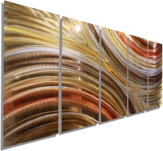 Statements2000 3D Metal Wall Art Abstract Red Gold Painting Decor by Jon Allen