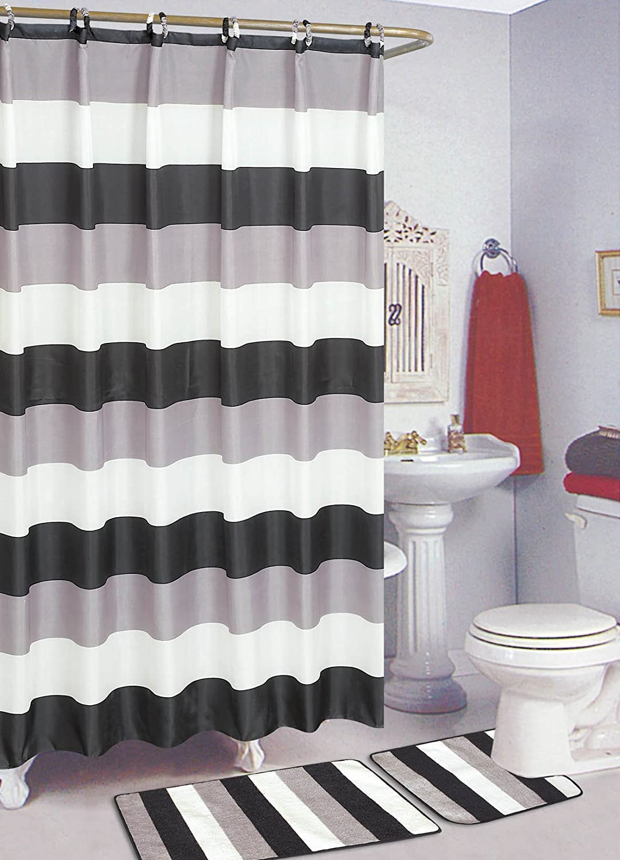 Amazon.com: SALLY TEXTILES Stripe Bath Rug, Black/White: Home U0026 Kitchen
