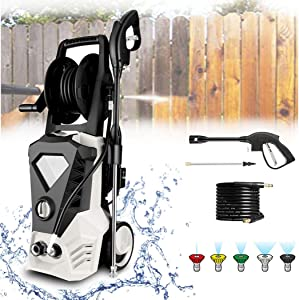 KGK 3500PSI White Electric Pressure Washer with 32ft Cable, 2.6GPM 1800W Upgraded High Pressure Power Washer Machine with Spray Gun for Cleaning Homes,Buildings,Cars,Fences,Decks,Driveways[US Stock]