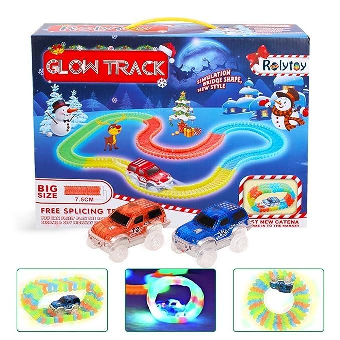 58 opinioni per Glow Track Rolytoy Giocattolo Pista Flessibile 222 pezzi con 2 Macchine Circuiti