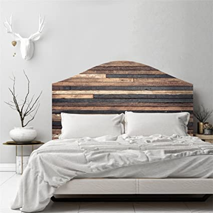 new product 4fa20 f02c8 AmazingWall 3D Vintage Wood Effect Bedroom Wall Sticker Headboard Decor  Self Adhesive Decal Removable Waterproof