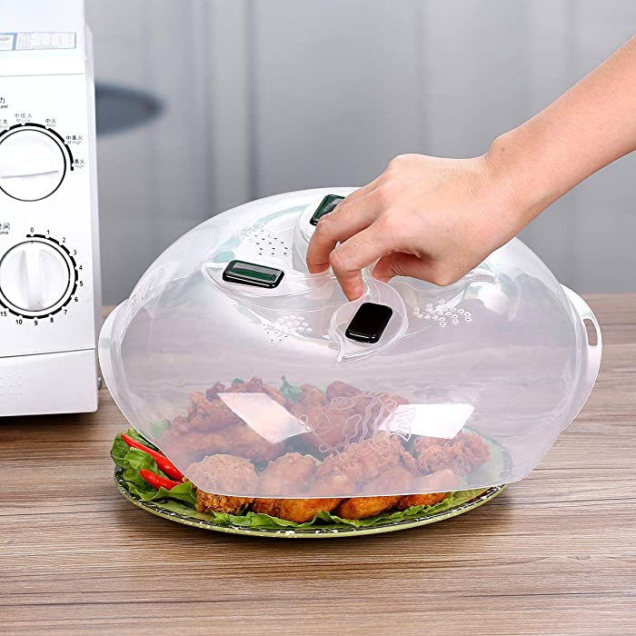 Microwave Plate Cover - Magnetic Hover Function   Microwave Lid Food Cover   Magnetic Microwave Splatter Lid with Steam Vents   11.8 Inch & BPA-Free (Black)