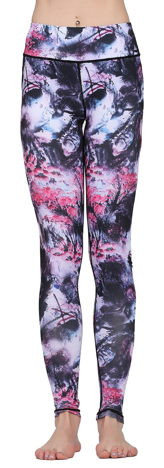 Jescakoo Women Chinese Style Painting All Over Printed Wide Waistband Running Leggings M