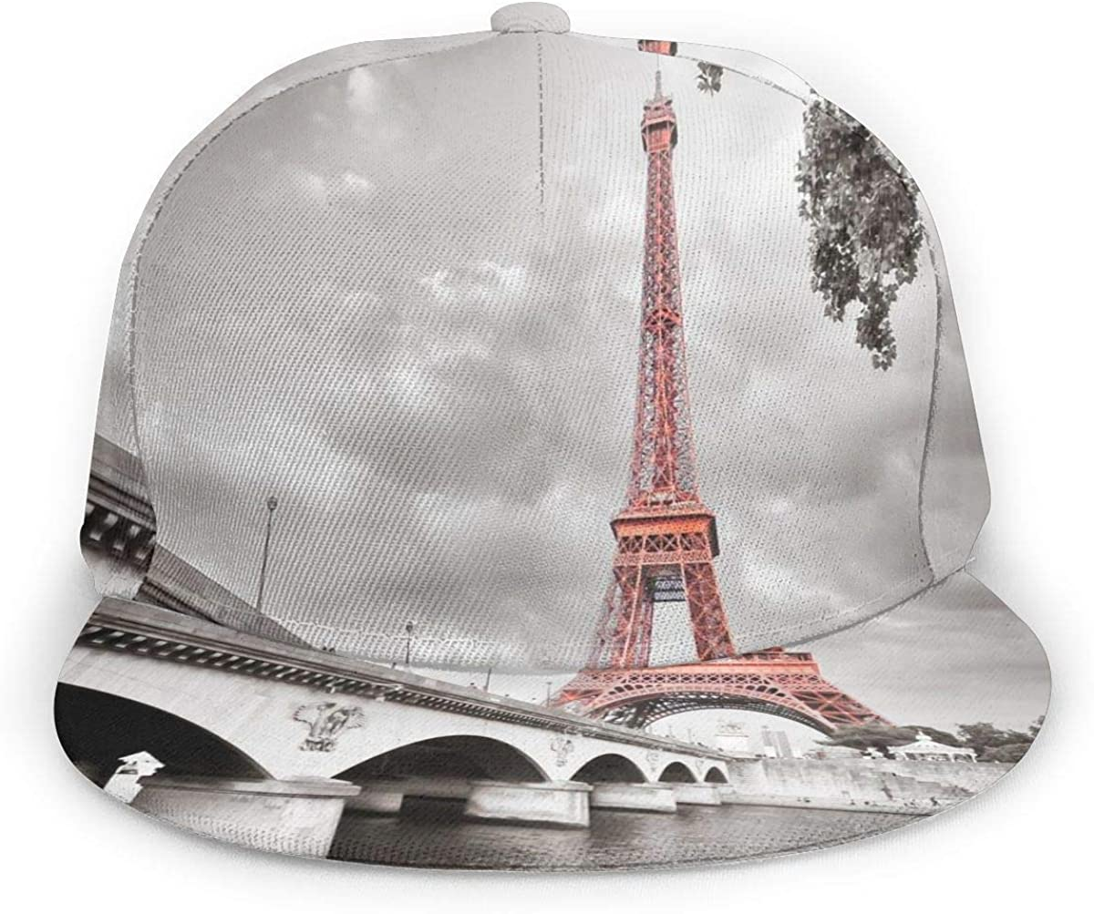 Eiffel Tower Bridge Capital City Lightweight Unisex Baseball Caps Adjustable Breathable Sun Hat for Sport Outdoor Black