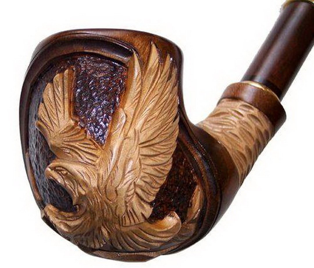 ''American Eagle'' pear wood hand made wooden tobacco smoking pipe + Pouch