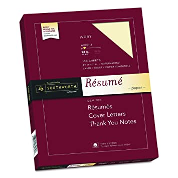"Southworth 100% Cotton Rsum Paper, 8.5 x 11"", 24 lb."