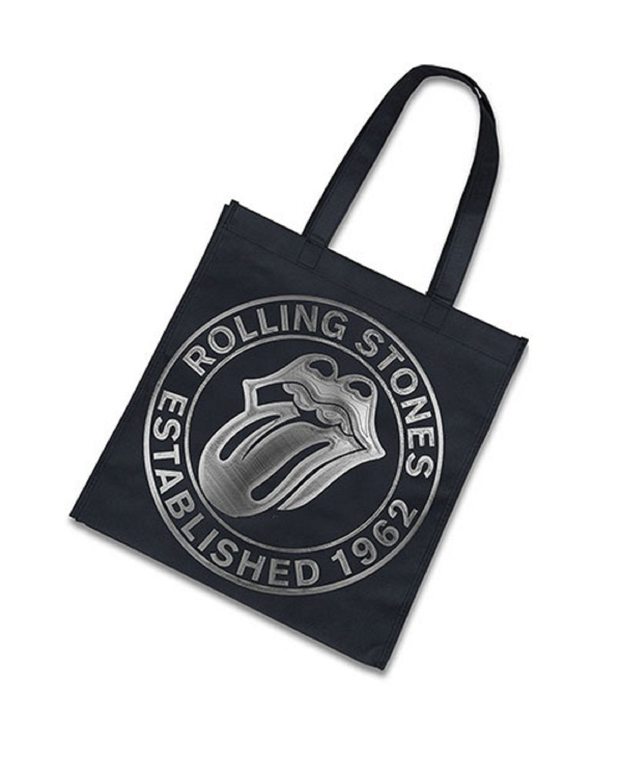 The Rolling Stones Est 1962 Logo Official Black Tote Shopper Bag