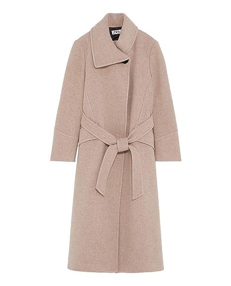 ade4ad8e Zara Women's Coat with wrap Collar 2095/767 Beige: Amazon.co.uk ...