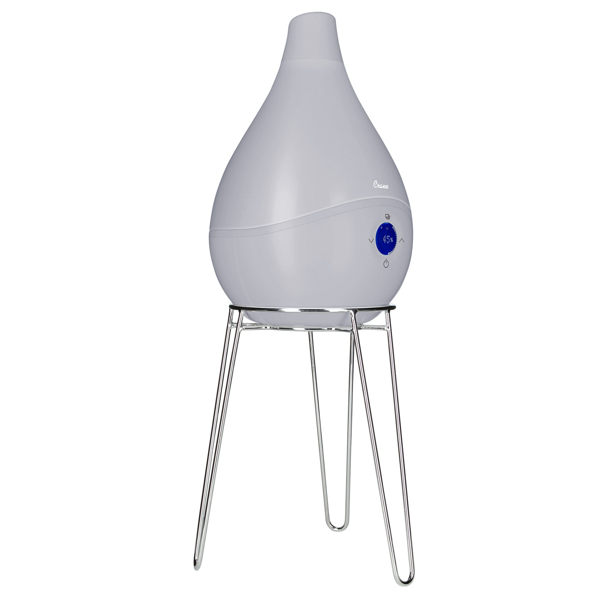 Crane USA Humidifiers - Grey Smart Drop Wifi Ultrasonic Cool Mist Humidifier - 1.5 Gallon Adjustable Mist Output Automatic Shut-off Whisper-Quiet Operation for Home Bedroom Office Kids & Baby Nursery