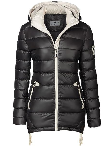 6b71e60ec Chaqueta para mujer, abrigo acolchado largo, parka, chaqueta para  entretiempo, con capucha, con cremallera