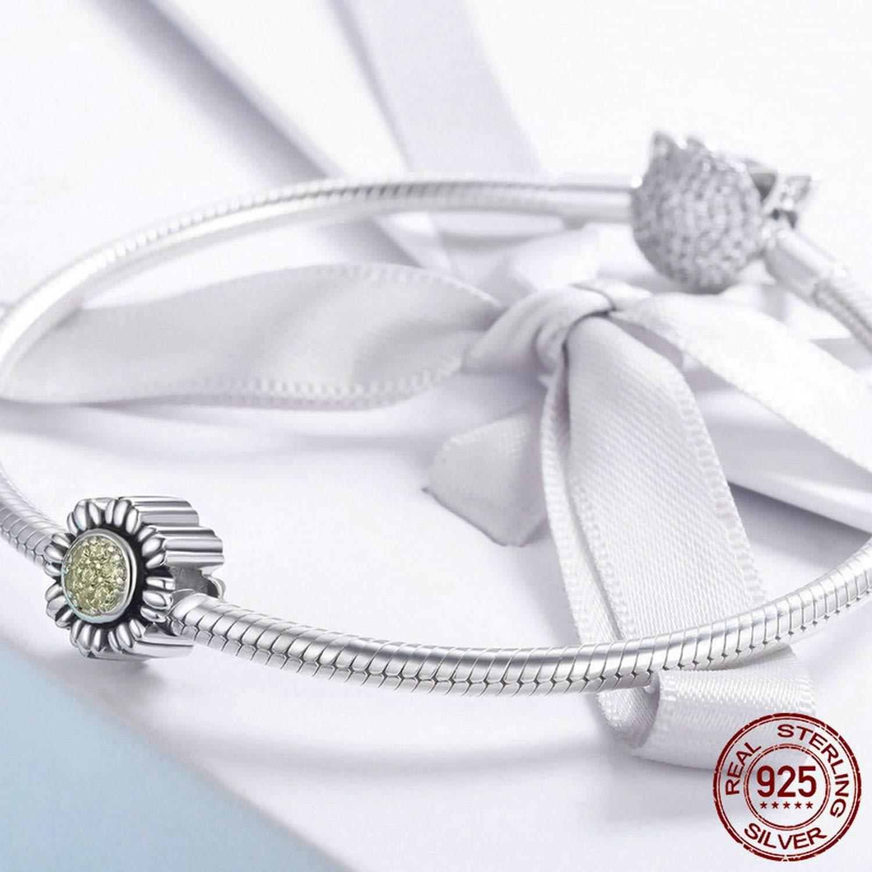 EverReena Glitter Sunflower Floral Flower Charm Silver Beads Bracelets