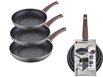 Inducción Cacerola Juego de 3 piezas de sartenes Granito antiadherente (aluminio, mango en imitación de madera, sartén, sartén): Amazon.es: Hogar