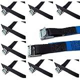Befestigungsriemen-Set ideal zur Befestigung am Fahrradträger , Klemschloss Gurte , Spanngurte , iapyx® (10er Set, schwarz)
