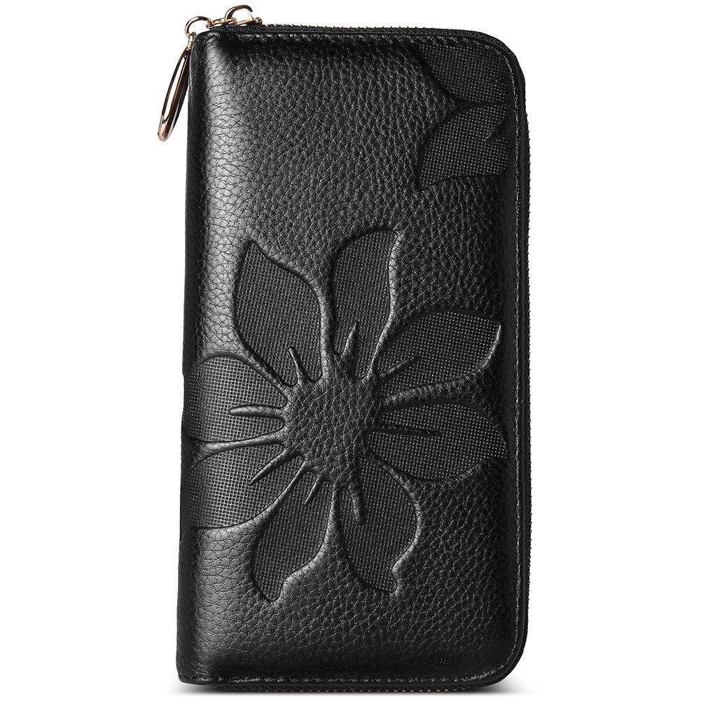 BOSTANTEN Women's Long Leather Wallet Credit Card Cash Holder Zipper Buckle Elegant Clutch Purse Black