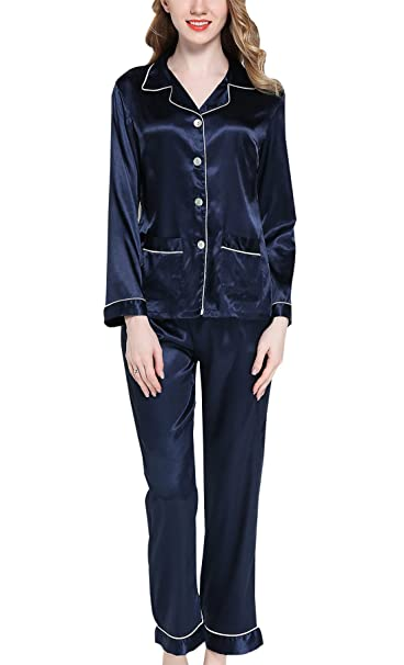 Sihuan Mujer Pijama de 2 Piezas Camisón de Satén Ropa de Dormir Manga Larga Elegante Ligero