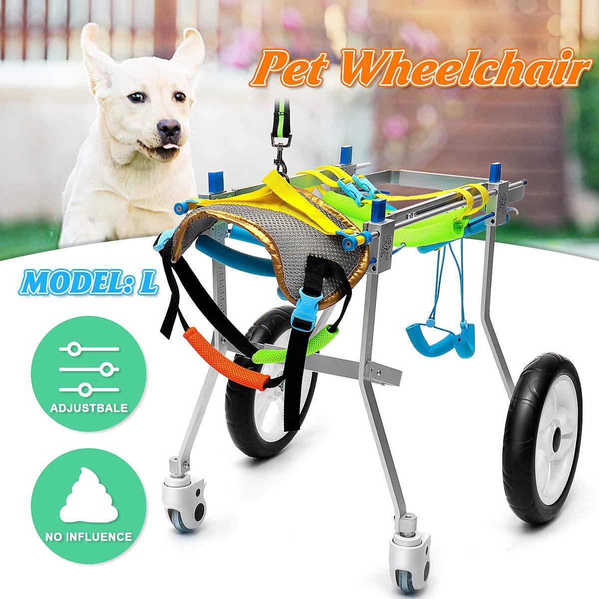 HLMF Carrito para Silla De Ruedas para Mascotas Aluminio para Discapacitados Gato Perro Patas Traseras Caminar 4 Ruedas Ajustable 73X32x61 Cm Portátil para ...