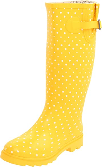 Amazon.com | Chooka Women's Posh Dots Rain Boot, Yellow, 8 M US ...