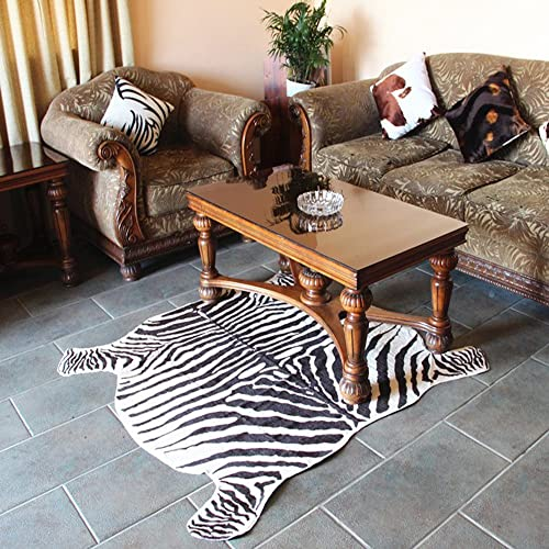 Zebra Hide Area Rug 4.4×4.9 Feet Faux Zebra Print Rug Carpet