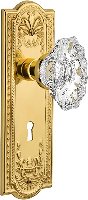 Unlacquered Brass Mortise Nostalgic Warehouse Meadows Plate with Keyhole Chateau Knob