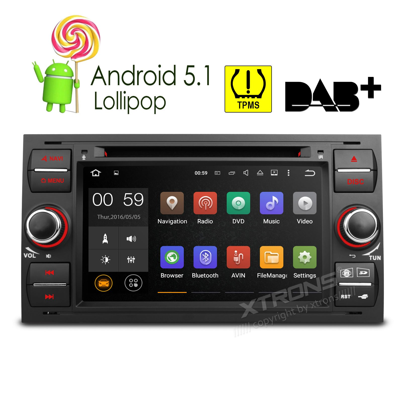 XTRONS Quad Core 7'' Android 5.1 Lollipop Car Stereo Multi-touch Screen Radio CD DVD Player GPS 1080P Video Screen Mirroring OBD2 Wifi CANbus Tire Pressure Monitoring for Ford Focus