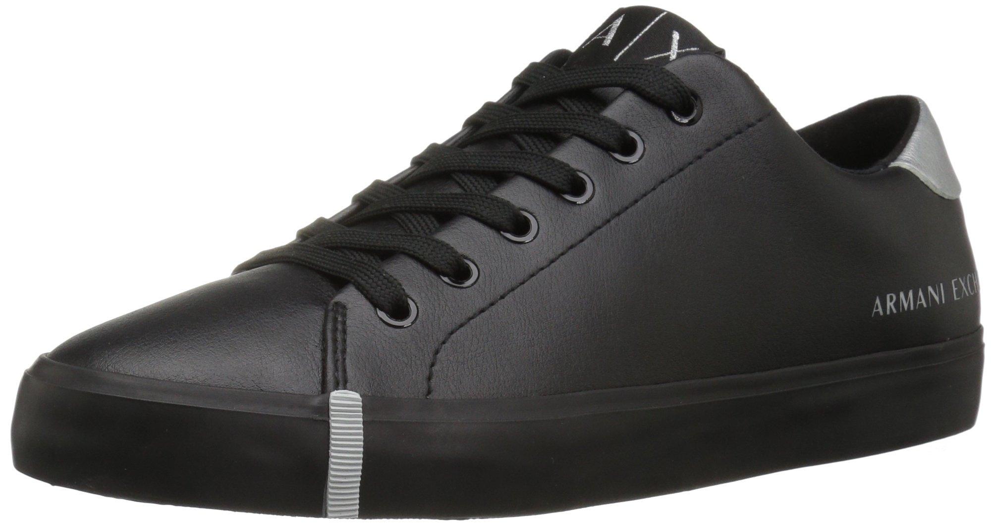 A|X Armani Exchange Women's Armani Exchange Eco Leather Fashion Sneaker, Black, 7 M US