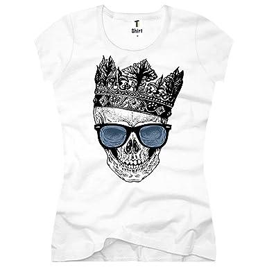 0c58bd8c693d93 Damen T-Shirt mit Totenkopf Aufdruck. T Shirt mit Totenkopf und ...