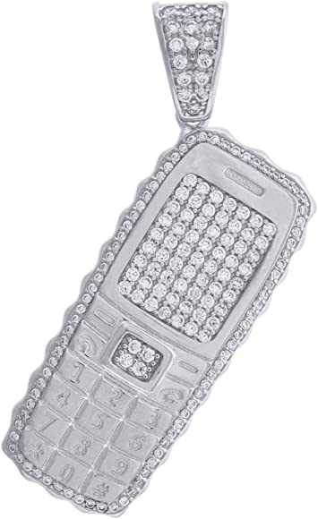 Jewels By Lux 925 Sterling Silver Womens CZ Round Charm Pendant