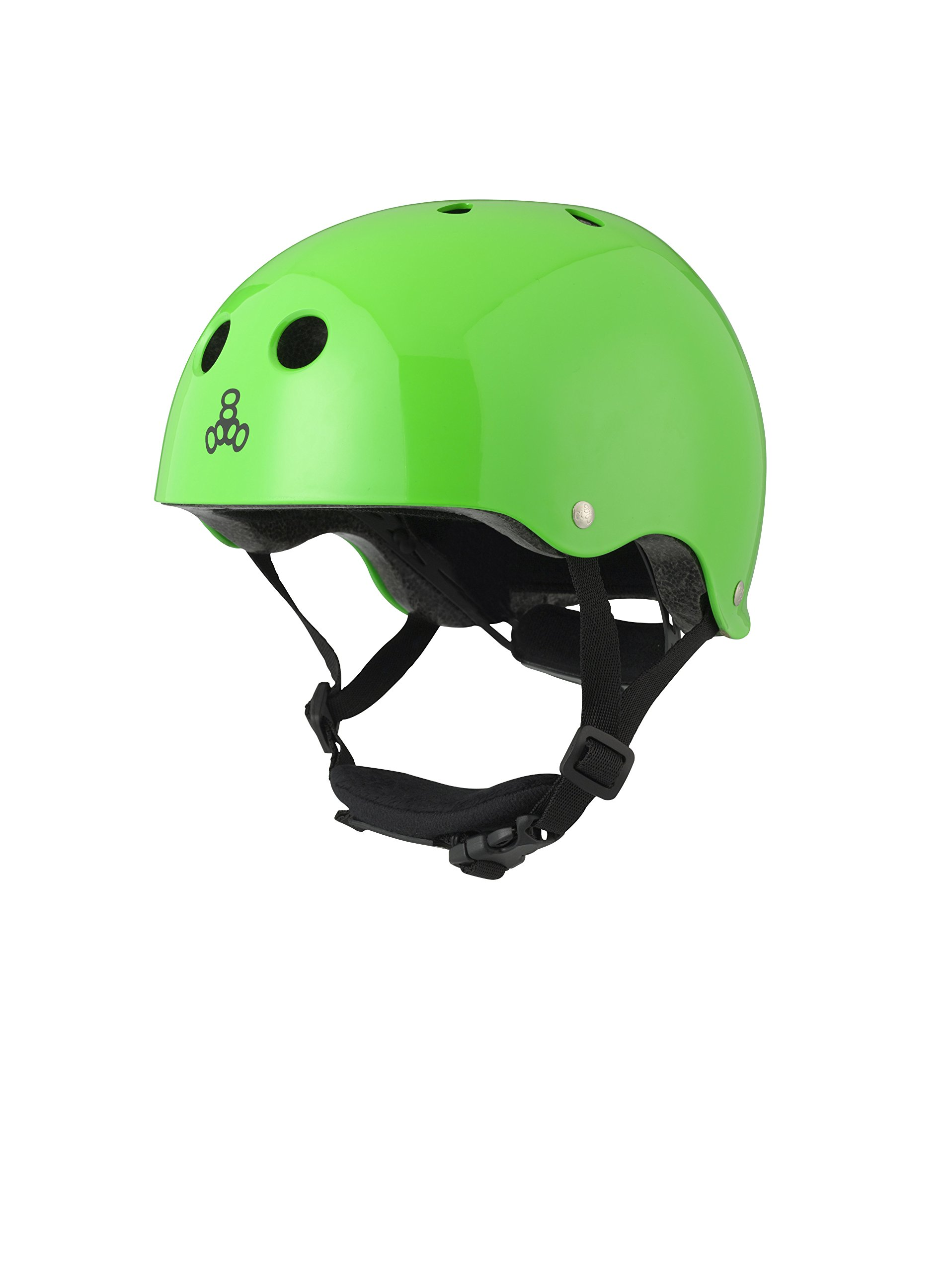 Triple Eight Lil 8 Dual Certified Sweatsaver Kids Skateboard and Bike Helmet with Padded Chin Buckle, Neon Green Glossy
