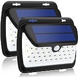GELOO LED ソーラーライト センサーライト 42LED 高輝度 270度広角照明 防犯ライト IP65 人感センサー 玄関ライト 省エネ 壁掛け式 自動点灯 電源不要 玄関入口 屋外 軒先 ガーデン 駐車場などに適用 (二枚セット)