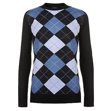 2852db8261589e Pierre Cardin Mens New Season Argyle Knitted Jumper Crew Neck V Neck and Quarter  Zip (Medium, Black/Blue): Amazon.co.uk: Clothing