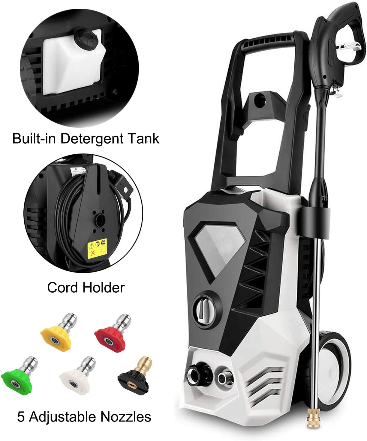 Hopekings Electric Pressure Washer Power Washer 3500PSI 2.6GPM Cleaner Machine with Power Hose Gun & 5 Interchangeable Nozzles, Suitable for Home, Garden, Patio, Cars (White)