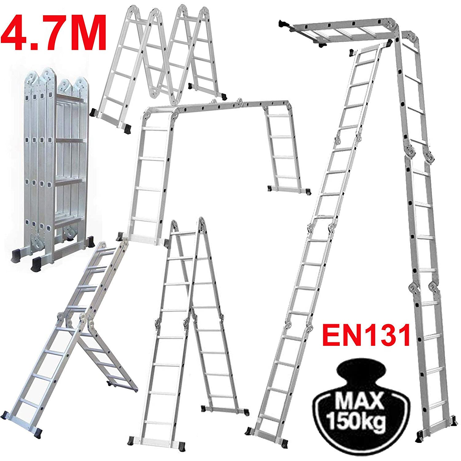 4x4 Aluminium Multi Function Folding Tool Decorating Extension Loft Ladder 4.7M 15.5FT Heavy Duty Combination Step 1 Painting Tray Manufactured to EN131 Up to 330pound/150kg ZanGe Factory