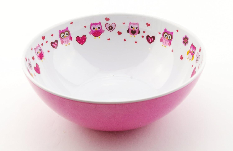 bol vaso con 4 piezas Juego de cubiertos Dise/ño de b/úho~Deluxe~OLIVIA SmileKIDZ 7 piezas Juego de comiendo~incluye plato