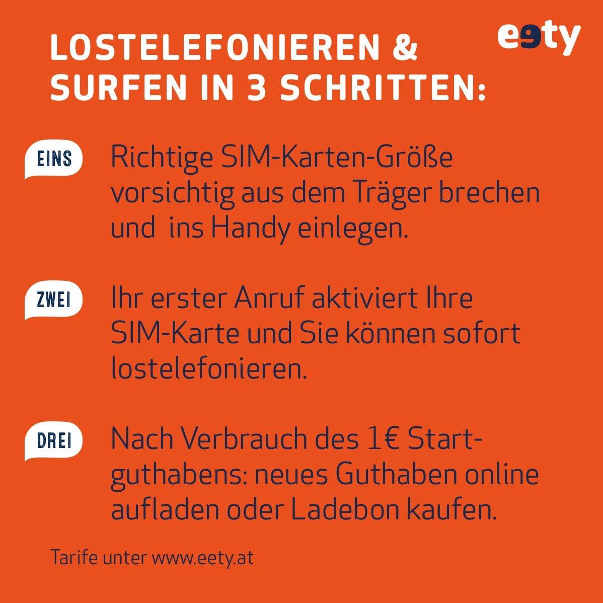 eety SIM Karte /Österreich f/ür Smartphone//Tablet Karte mit 1 Euro Startguthaben roamingf/ähig SIM, Micro-SIM, Nano-SIM Router//Laptop