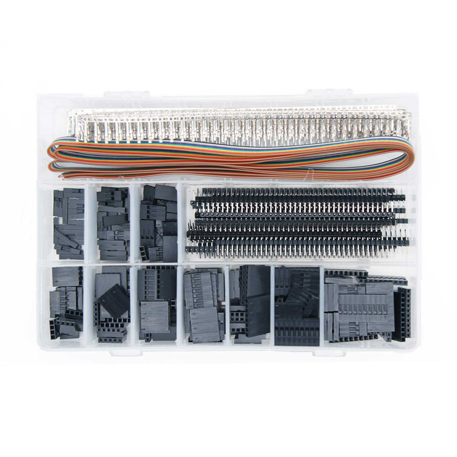 Necygoo Dupont Connector 1420PCS Dupont Connectors with IDC Cable Dupont Wire Connectors Include 1 to 20 P Connectors Male Female 2.54mm PCB Pin