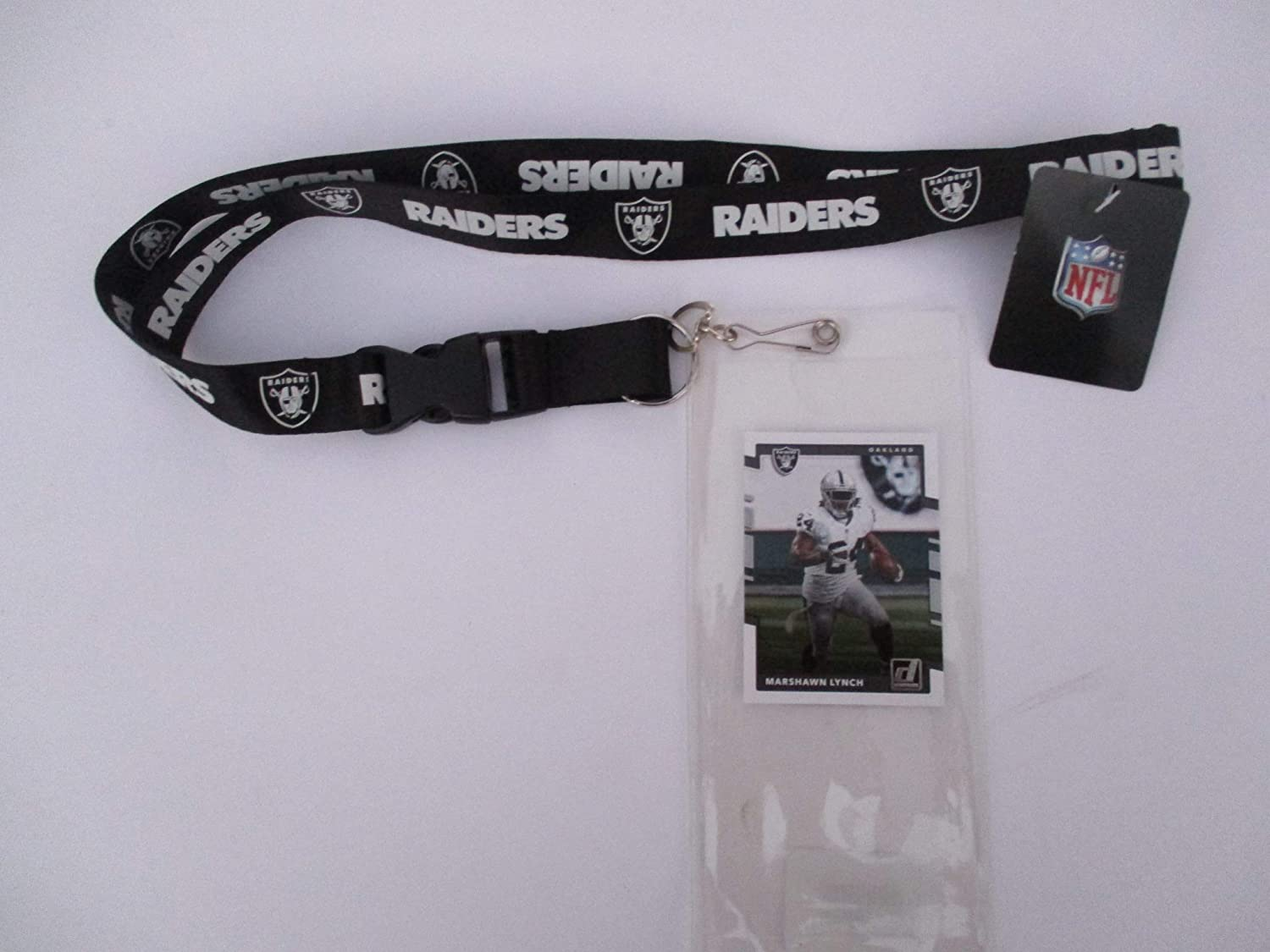 OAKLAND RAIDERS BLACK AND WHITE LANYARD WITH TICKET HOLDER PLUS COLLECTIBLE PLAYER CARD