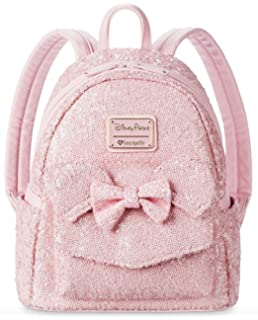 Disney Parks Loungefly Millennial Pink Minnie Mouse Sequin Backpack