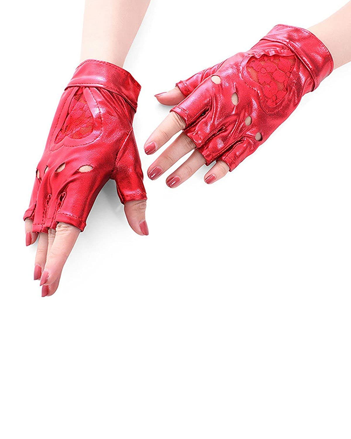 IXIMO Fingerless Mitten Hollow Out Punk Leather Glove For Performance Stage Show