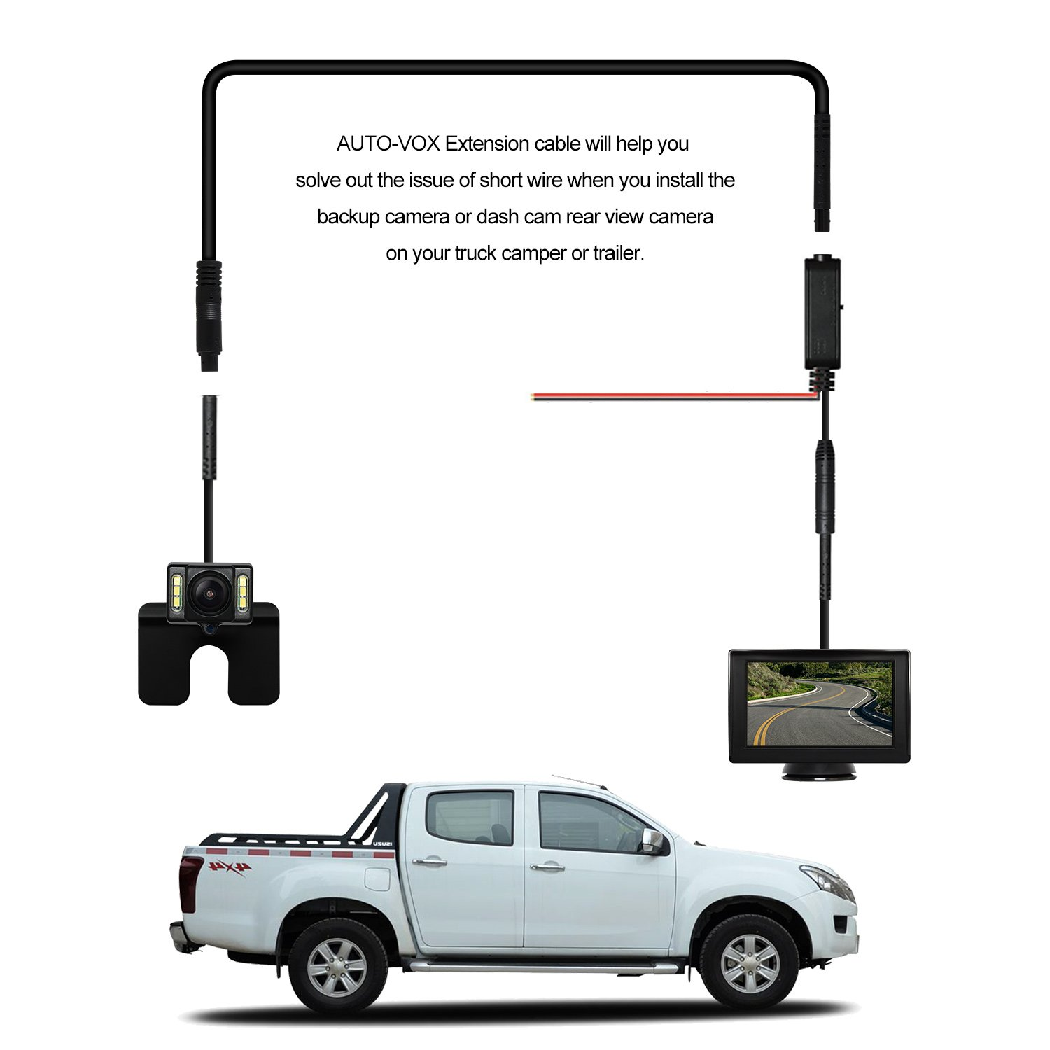 AUTO VOX 9 8ft Extension Cord Dash Cam Rear View Backup Camera Cable for  Truck Camper Trailer Bus Van (4 pin)