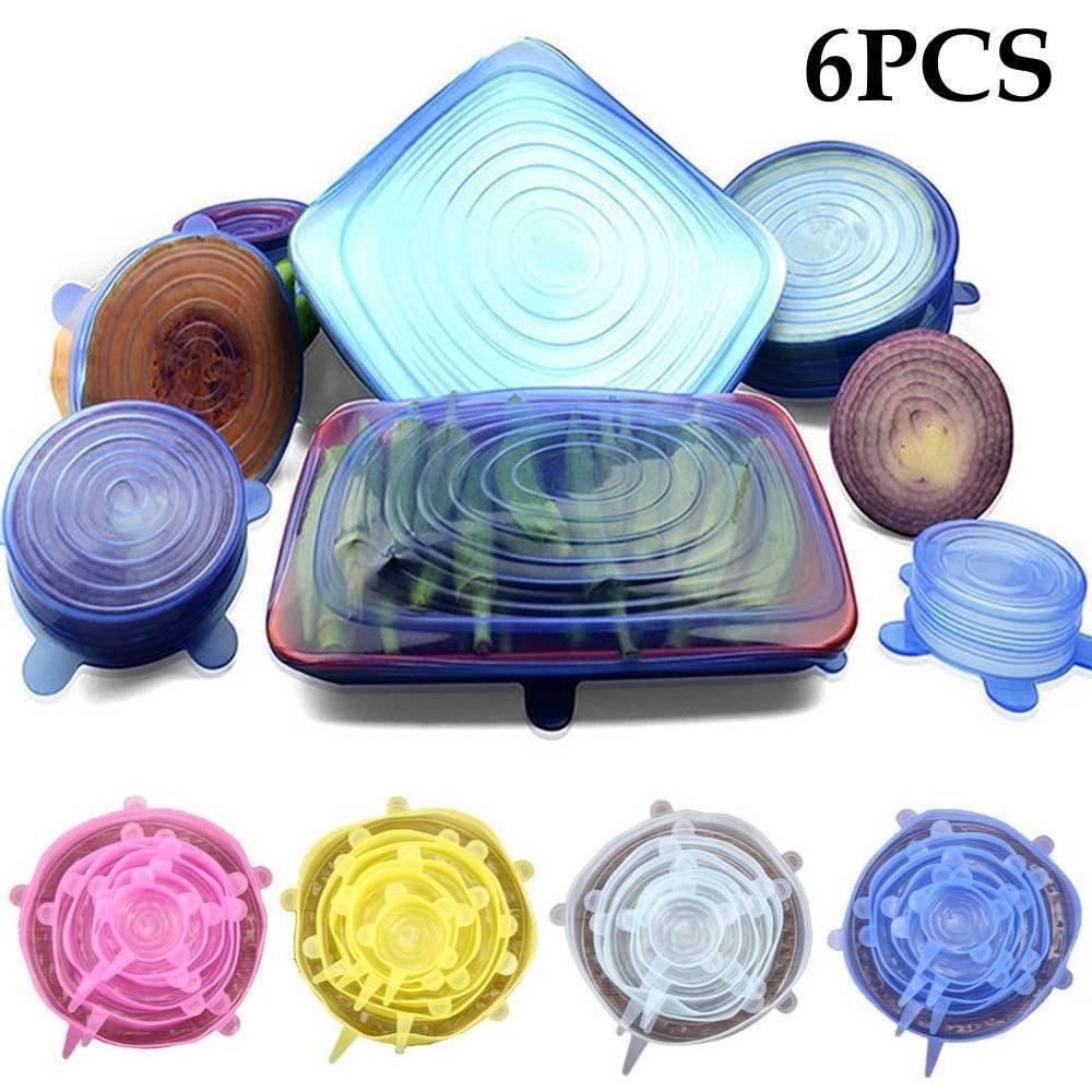 6Pcs réutilisable Silicone Pot Couvercle Bol Couvre Wrap Stretch Frais Lidiwee