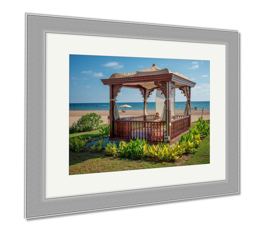 Ashley Framed Prints A Cozy Wooden Sea Bower On The Beach, Wall Art Home Decoration, Color, 26x30 (frame size), Silver Frame, AG6454249