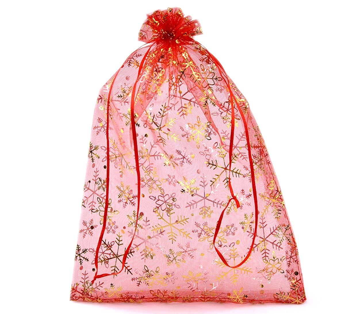 HooAMI 50-Stk. 20cm x 30cm Rot Orange Organza Säckchen mit Gelb Schneeflocke Geschenkbeutel Beutel Weihnachten Säckli (Rot) (20cm x 30cm) BETY19609