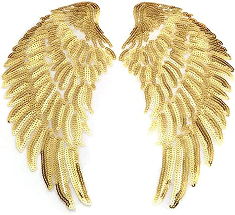 1 Pair Wing Sequins Patches Sew Iron on Applique Embroidered Badge DIY Craft